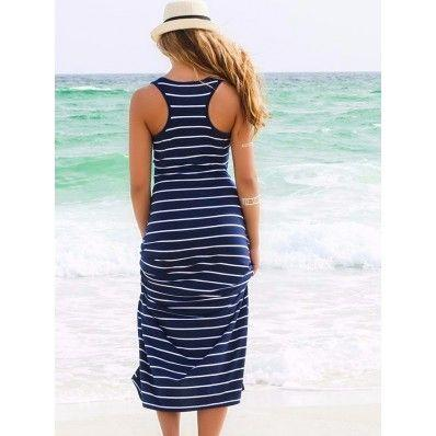 Cheap black blue stripe sleeveless sexy bandage beach dress