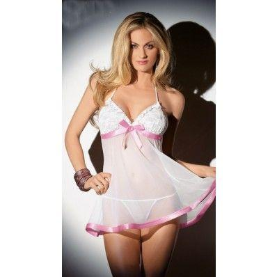 Cheap Sexy perspective Pink lace White plus size lingerie