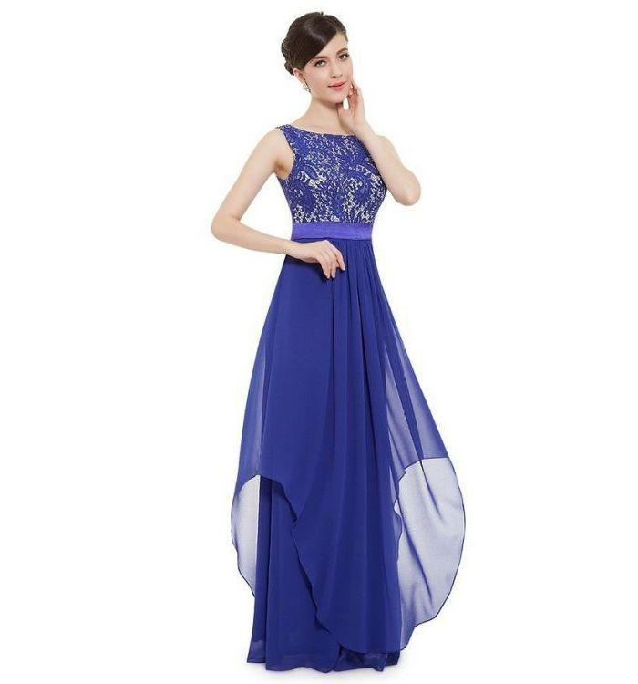 Elegant Long Elegant Short Sleeve Blue Cocktail Dress For Women