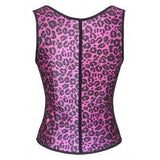 Rosy Leopard Latex Full Vest Rubber Waist Cincher Under Bust Corset