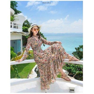 Red apricot floral seaside vacation beach skirt v-neck long sleeve slim skirt