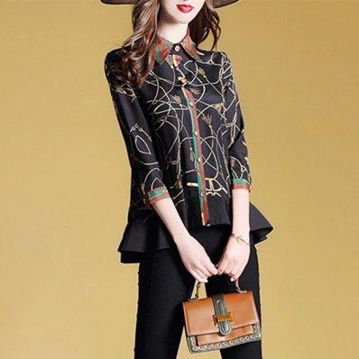 Spring temperament seven-point sleeve printing loose shirt lapel women's shirt