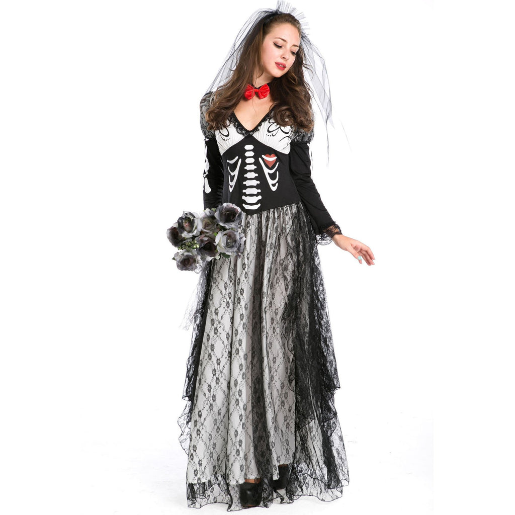 Halloween sexy female vampire skeleton ghost  bride costume