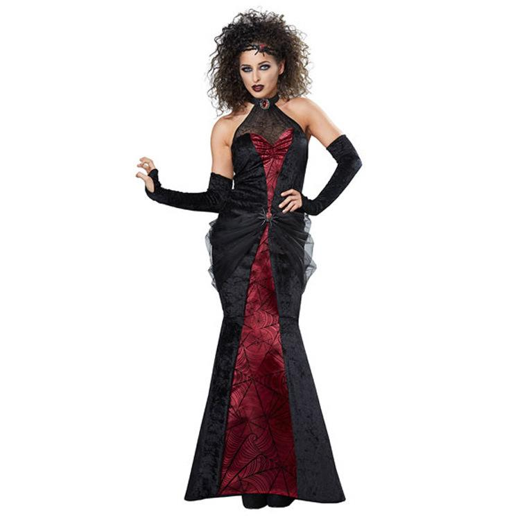 Spider pattern Female vampire long skirt sexy costumes
