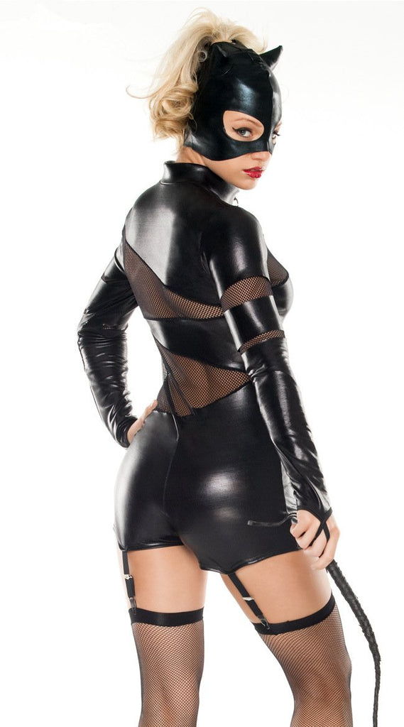 Black imitation leather classic conjoined catwoman costumes