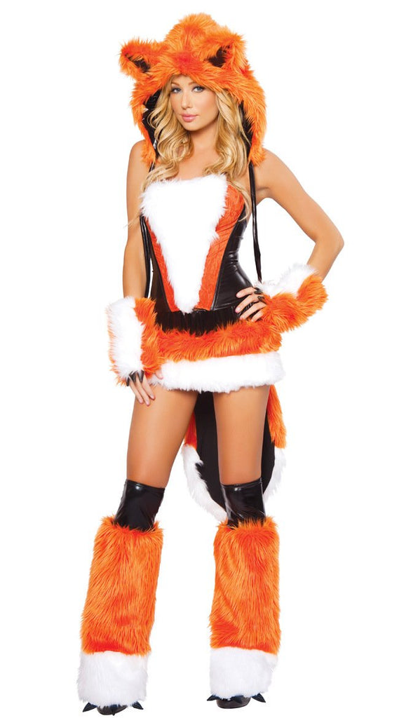 Halloween orange woman fox animal fur costumes