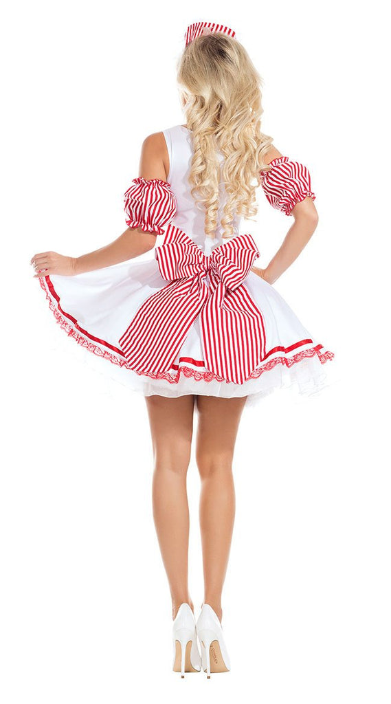 Red and white striped nurse costumes uniform temptation
