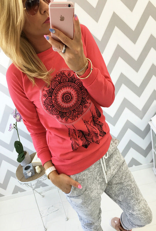 Fashion ethnic style print round neck long sleeve women's T-shirt