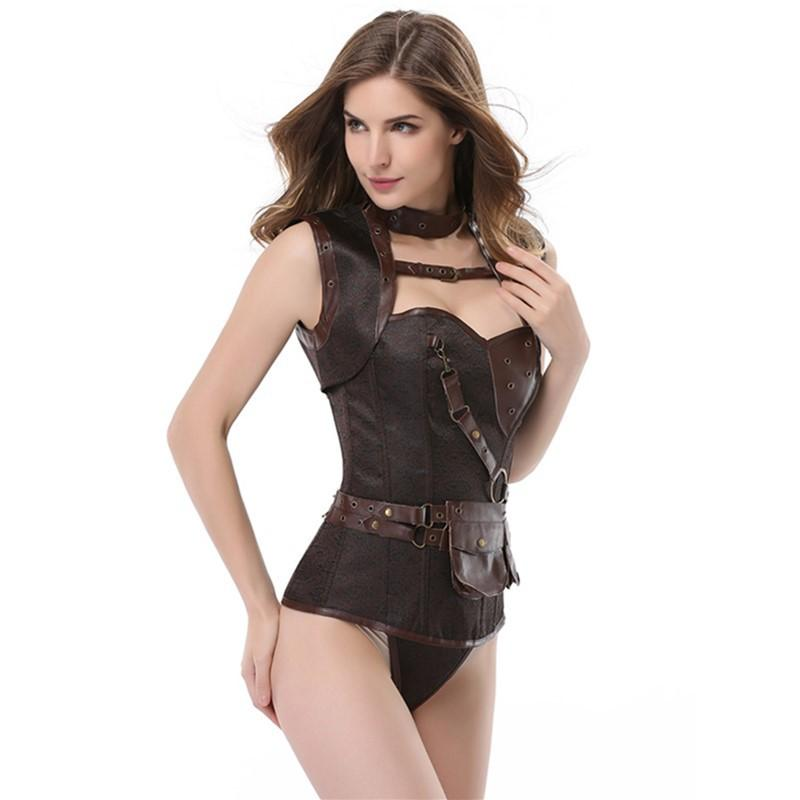 Brown High-end retro with shawl leather steampunk style corset