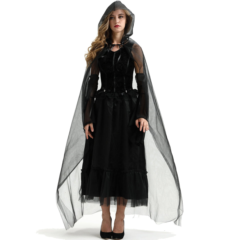 Black fashion woman cloak vampire devil Halloween party costume