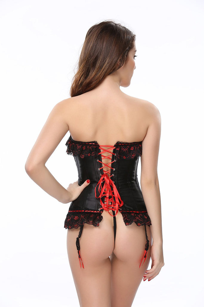Satin black lace pleated red bow-knot overbust corsets