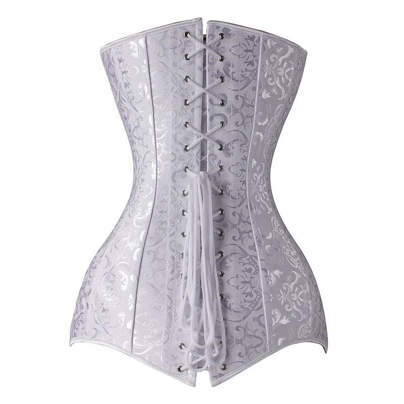 White Long abdomen adjustment beam waist steel boned corsets