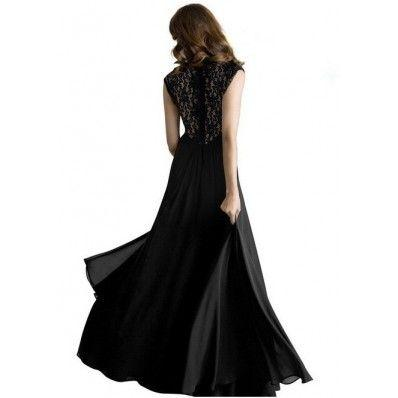 Red Blue Black Lace stitching sleeveless chiffon long plus size dress