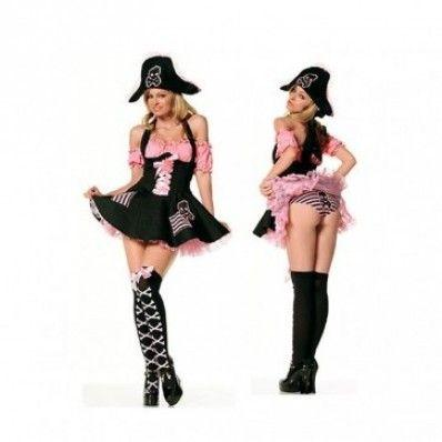 Cute sexy Pink and black color pirates Costumes