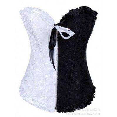 Black and White Classic Matching Zipper Corset Online for sale