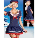 Blue Fashion Stretch Knit Sailor Costume