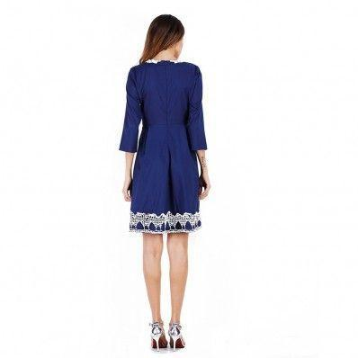 Blue Apricot fashion Pure color five-point sleeve summer dress