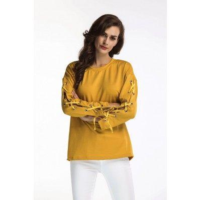 Autumn Yellow Women's Fashion Round Neck T-Shirt Long Sleeve Tie Top