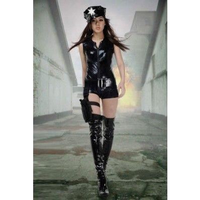 Beautiful fashion Black policewoman Costume
