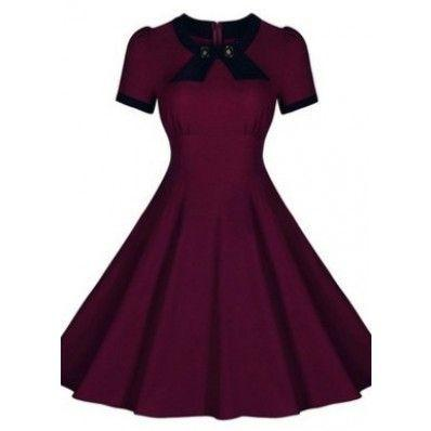 Red Purple Short sleeve round neck dress