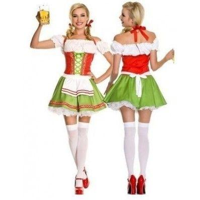 White and Green Colorful Cute sexy Beer Girl Costumes
