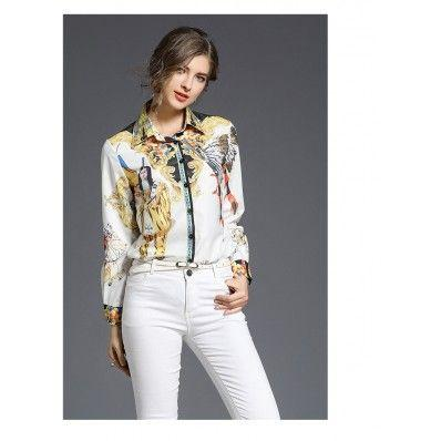 Spring women's stand collar exquisite printed long-sleeved slim temperament shirt top