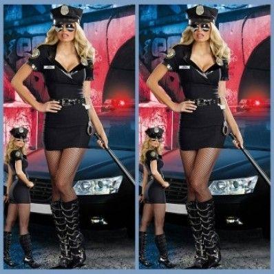 Slim black uniforms temptation policewoman