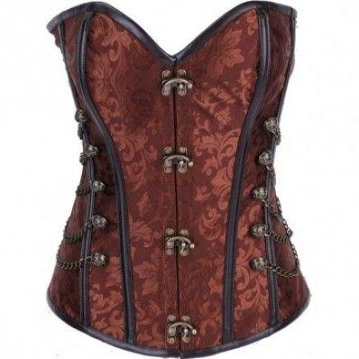 Fashion High-grade Red Coffee Black color jacquard metal skeletons corset