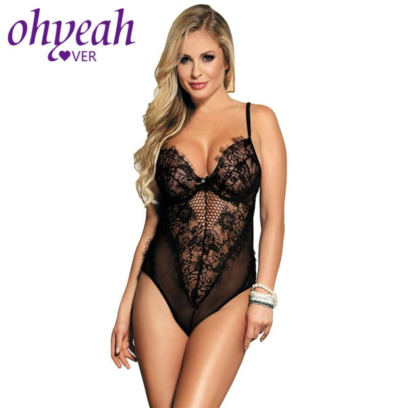 Ohyeahlover Free shipping Plus Size Teddy Lace Bodysuit Transparent Body  Black Sexy Body Suits Teddy Lingerie XXXXXL