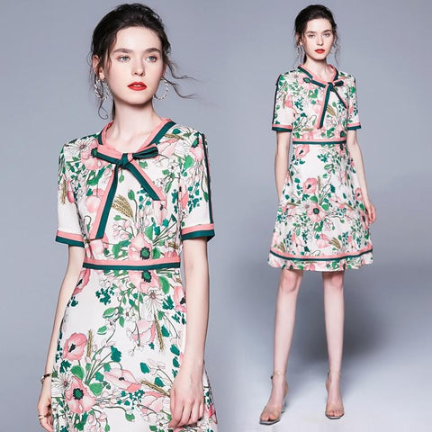 Summer Fashion Runway Long Sleeve Dress Women's Belted Collar Multicolor Floral Print Vintage Elegant Dress