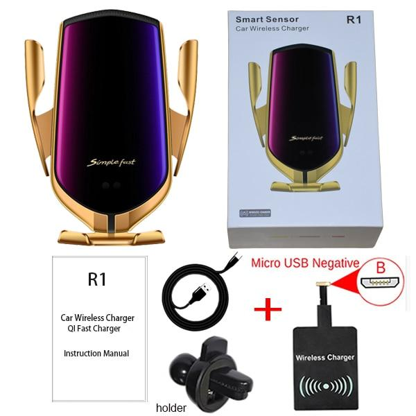 ROCK Automatic Clamp Wireless Charger Car Holder for iPhone X XS XR 8 Plus Huawei P30 Samsung Infrared Sensor QI Induction Mount