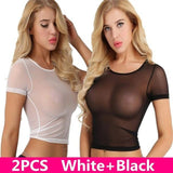2PCS Women's Sexy Sheer Mesh See-Through Short Sleeve Crop Tops Casual Lingerie short Sleeves T Shirt Clubwear Cover Up