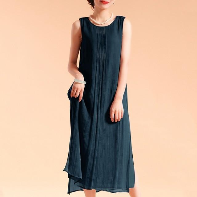 EaseHut Women Sleeveless Summer Dress Boho Beach Casual Ruched Slit Lined Midi Linen Dress S-5XL Plus Size Dresses elbise