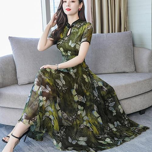 Vintage Chinese Style Floral Chiffon Midi Dresses Summer 3XL Plus Size Print Sundress Women Elegant Bodycon Party Vestidos