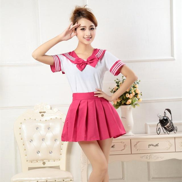 Japanese Style Student Girls School Uniform Sailor Shirt+pleated Skirt Set Woman Cosplay Costumes Sexy Navy Suit