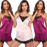 Fashion Set Silk Sexy Satin Lace Sleepwear Plus Size Babydoll Lingerie Nightwear Pajamas Set