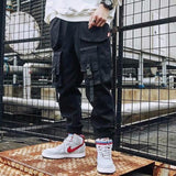 Free shipping Cargo Pants Men Loose Hip hop Streetwear Joggers Korean Pocket Patchwork Harem Pants Ankle length Trousers Techwear