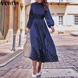 VONDA Bohemian Dresses Autumn Women Long Sleeve  Vintage Polka Dot O-Neck Dress Casual Loose Midi Dress Plus Size Sundress