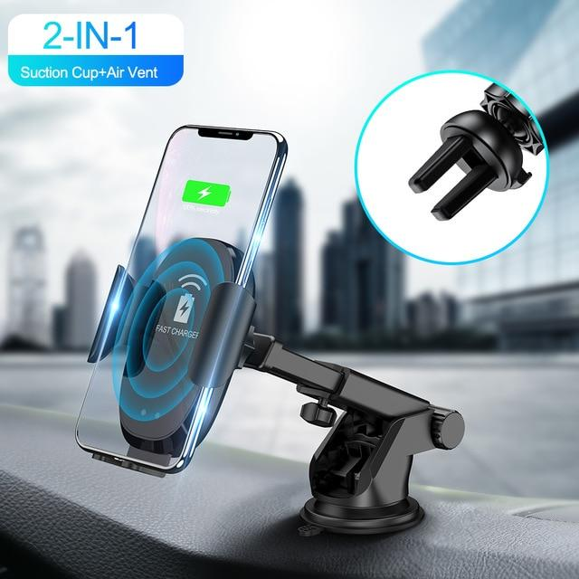 ROCK Infrared Sensor Automatic Qi Fast Wireless Car Phone Charger For iphone Samsung Car Phone Holder For Xiaomi Huawei 10W