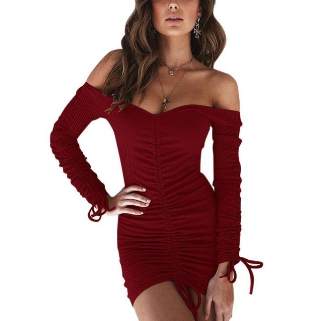 Free shipping Women Winter Bandage Plus Size Clubwear Women Sexy Off Shoulder Long Sleeve Slim Elastic Bodycon Party Dresses