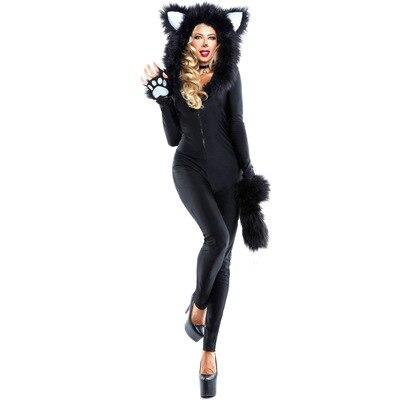 Hot Black Fox Cosplay Costume Halloween Sexy demon animal cosplay costume Jumpsuits Set women adult cos animal costume Body Suit