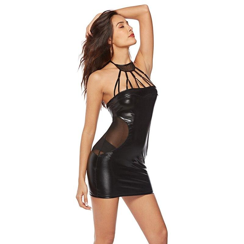 Women Sexy Lingerie Leather Bandage Hot Erotic Solid Spaghetti Strap Nightdress Clubwear Min Dresses