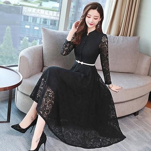 Autumn Winter Plus Size Vintage Lace Midi Dresses Women Elegant Bodycon Black Maxi Dress Party Long Sleeve Runway