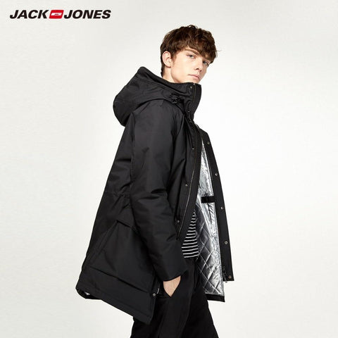 JackJones Men's Winter Hooded Down Jacket Casual Fashion Parka Coat Long style Menswear