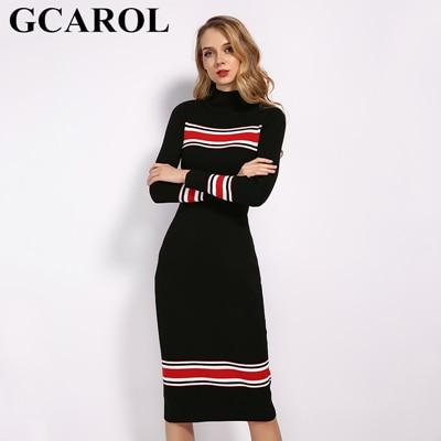 GCAROL Stand Collar Women Striped Spliced Long Dress Sexy Bodycon Dress Fall Winter Elegant OL Black Knit Dress