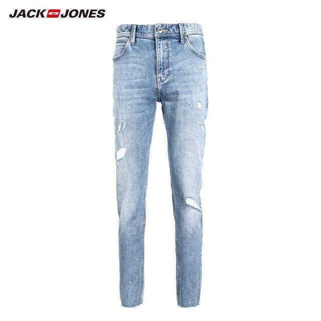 Free shipping JackJones Men's Skinny Tight-leg Ripped Crop Jeans Men's Denim Pants