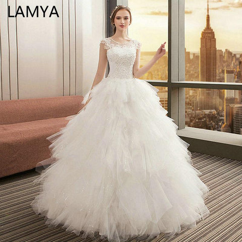 TuTu Wedding Dresses O Neck Appliques Bridal Gown Bohemian Long Lace Up white wedding dress long sleeve