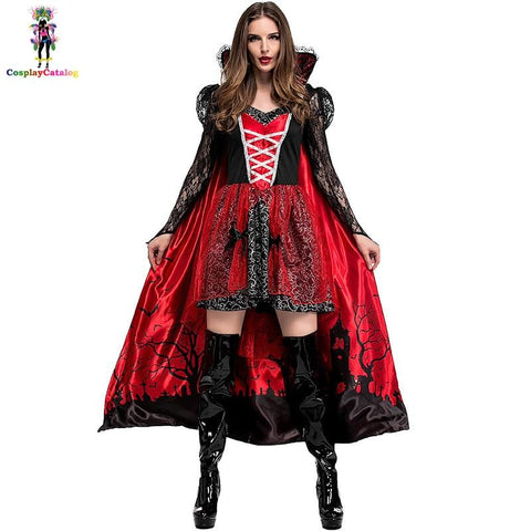 Deluxe Halloween Party Adult Women Blood Vampire Vixen Countess Costume Cemetery Scene Printed Female Cloak & Dresses Size S-XL