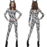 Halloween Leopard Print Animal Zebra Female Cosplay Costume Girl Cat Girl Zipper Long Sleeve Jumpsuit Christmas Carnival Costume
