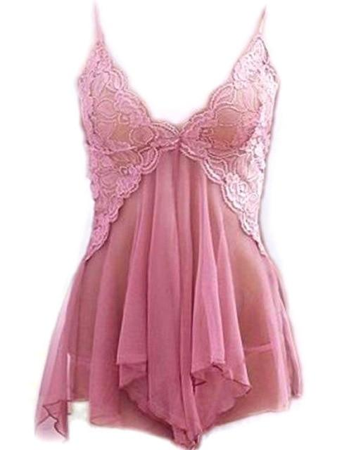 New arrival Women Sexy Babydoll Lingerie Lace Dress sleeveless Sleepwear+G-string Nightwear Dress Exotic pink Dress